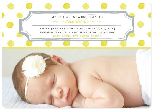 birth announcements - Ray of Sunshine Baby by Ally MacWilliams
