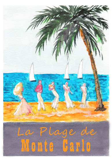art prints - La Plage de Monte Carlo by Amanda Bush