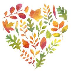 Heart -shaped autumn leaves tag