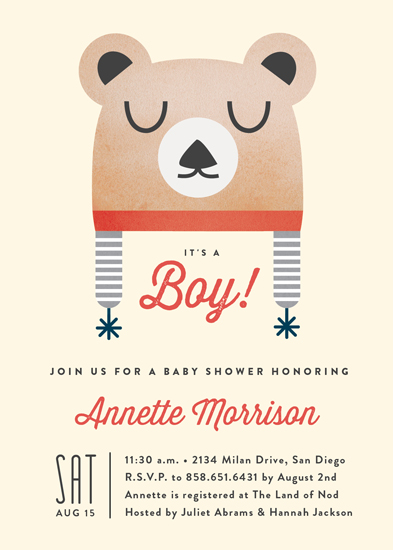 baby shower invitations - Baby Bear Bonnet by Erica Krystek