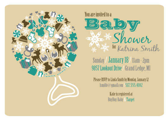 baby shower invitations - Winter Rattle by Katie Kruth