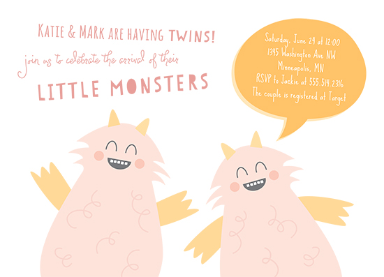 baby shower invitations - Little Monsters by Chelsey Scott