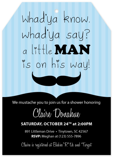 baby shower invitations - Lil Man Mustache by Christine Simons