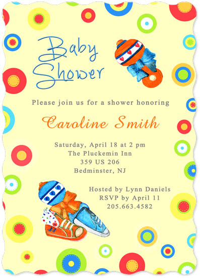 baby shower invitations - Baby Shoes and Toys by Amanda Bush