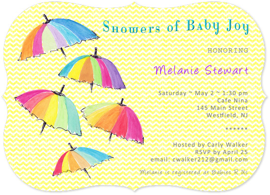 baby shower invitations - Umbrellas by Amanda Bush