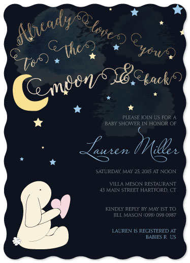 baby shower invitations - To the moon and back by Shelley Seguinot