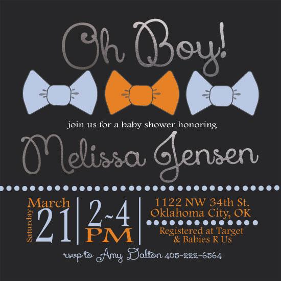 baby shower invitations - Bow Tie Boy by Melissa Jensen