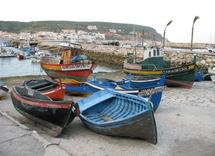 Boats at Lisbon Harbor by Richard Coble