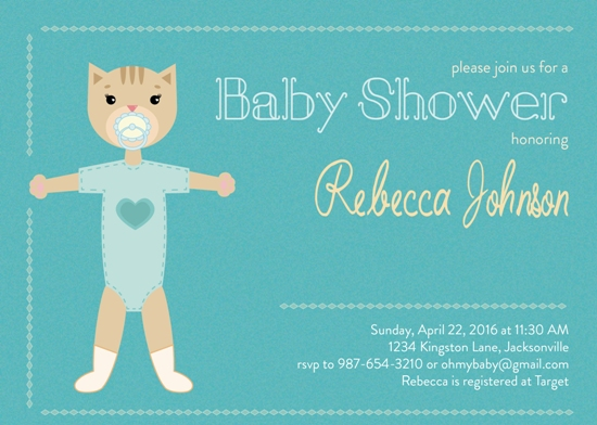 baby shower invitations - Cute Kitten by Onysia Kolesnikova