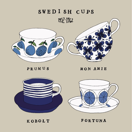 art prints - Swedish Cups by Maria Larsson