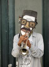 Trumpeter in whimsical... by Richard Coble