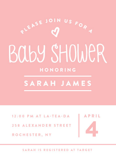 baby shower invitations - Pink Block by Ilana Griffo