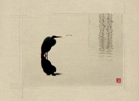 art prints - Zen Egret by Susan Fan-Brown