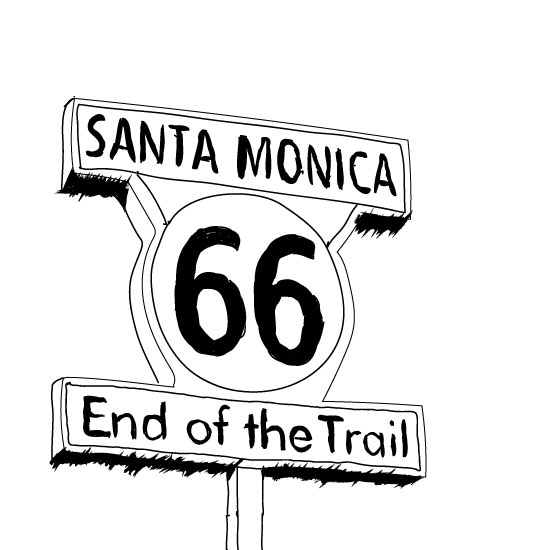art prints - Route 66 - End of the Trail by KC Design