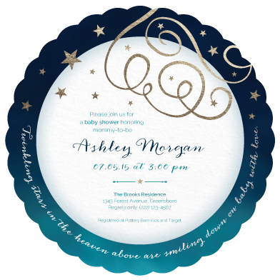 baby shower invitations - Twinkling Stars, Foil & Flourishes by Evelyn Francis Cook