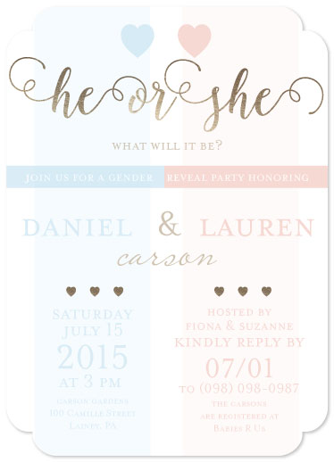 baby shower invitations - He or She by Shelley Seguinot