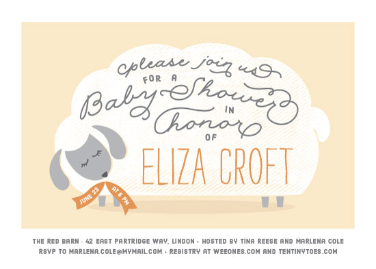 baby shower invitations - Gentle Lamb by Kimberly Morgan