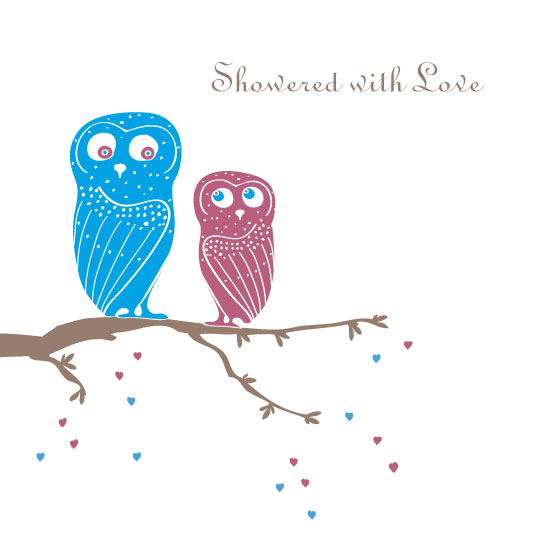 baby shower invitations - Showered with Love (Owls) by Caroline Wallace