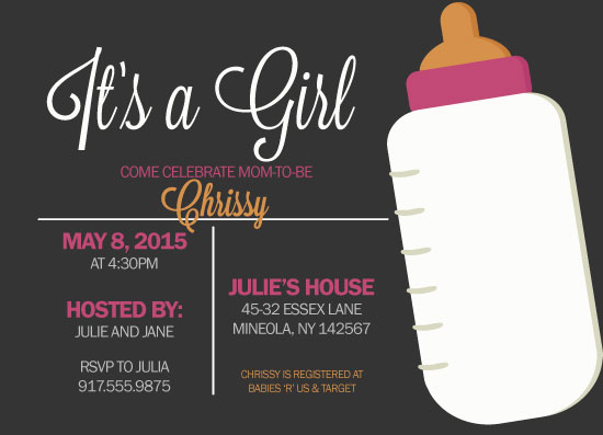baby shower invitations - Baby Bottle Pop by Chelsea Simmons