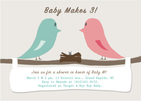 baby shower invitations - Baby Makes 3 Little Birds! by Hannah Fintelman