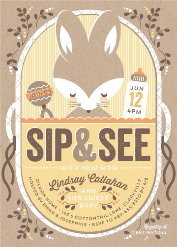 baby shower invitations - Bundled Bunny by Karen Glenn