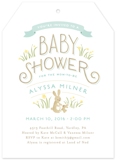 baby shower invitations - Springtime bunnies by Jennifer Wick