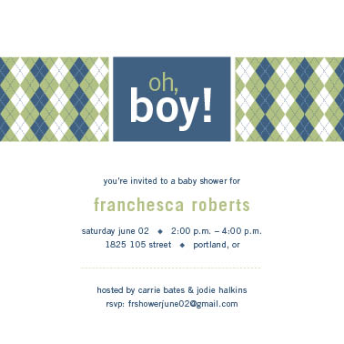 baby shower invitations - Oh Boy Argyle by Lisa M