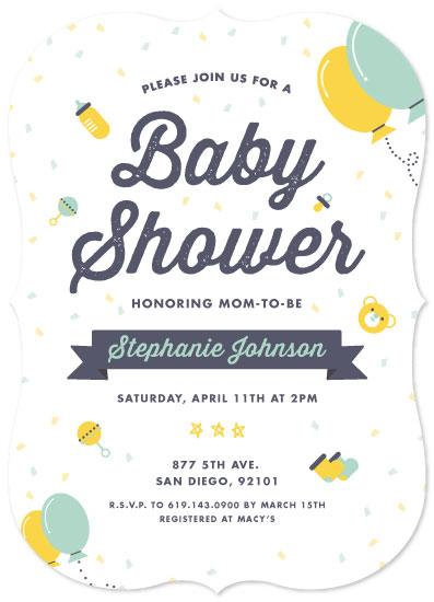 baby shower invitations - Cute Baby Toy by Jelly Design