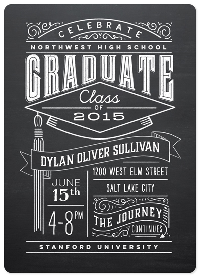 graduation announcements - Past and Future Chalkboard by Laura Bolter Design