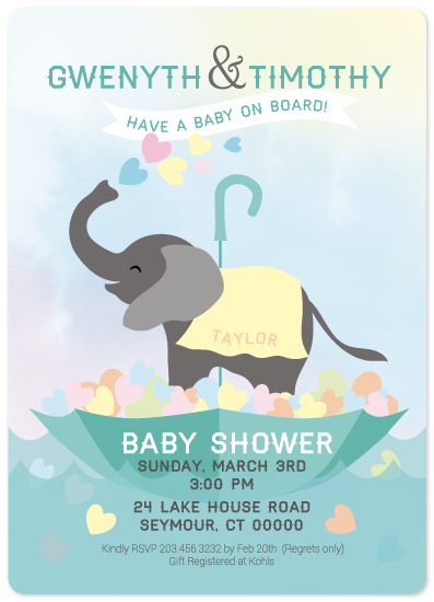 baby shower invitations - Splashes of Love Baby on Board by Karen Ciocca