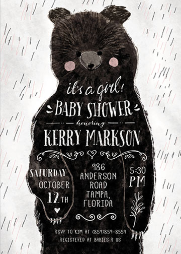 baby shower invitations - girl baby bear by Cass Loh