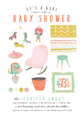 baby shower invitations - Baby Girl Moodboard by Lori Wemple