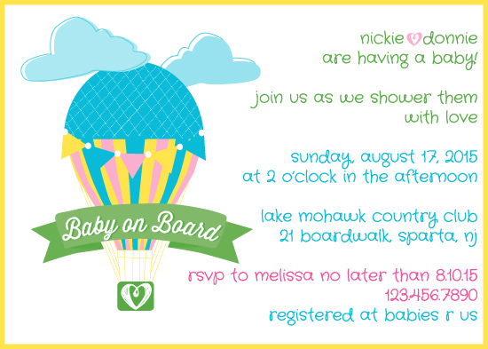 baby shower invitations - baby on board nickie + donnie by Nicole Ross