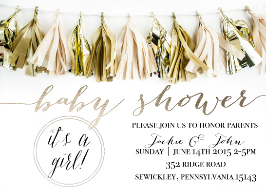 baby shower invitations - Tassel with Gold Foil by Sweet Water Decor