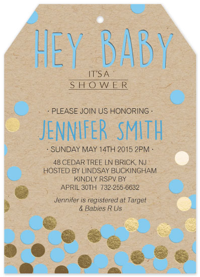 baby shower invitations - Foil Pressed Polka Dots by 365 Designs