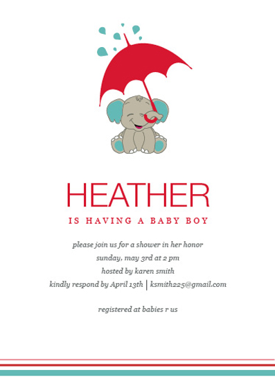 baby shower invitations - Water for elephants by Paper Rose Invitations