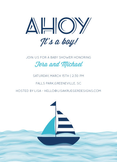baby shower invitations - Sweet Sails by Lisa Krueger