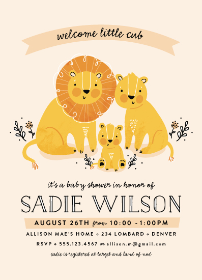 baby shower invitations - Little Cub by Pistols
