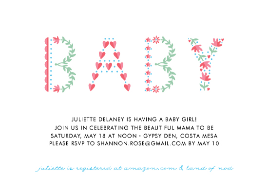baby shower invitations - Patterned Girl by Monica Schafer
