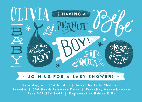 baby shower invitations - baby names by Jennifer Wick