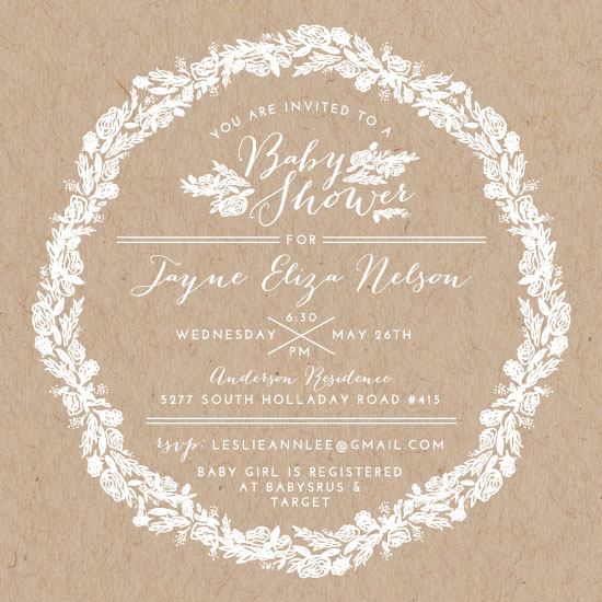 baby shower invitations - Fresh Flower Wreath by Jayne Swallow