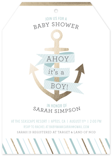 baby shower invitations - AHOY Baby Boy! by Mandy Lindeke