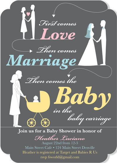 baby shower invitations - ...the baby in the baby carriage by Francesca Leipzig Picone
