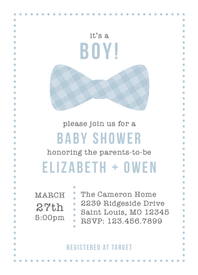 baby shower invitations - Bowtie Boy by Monica Francis