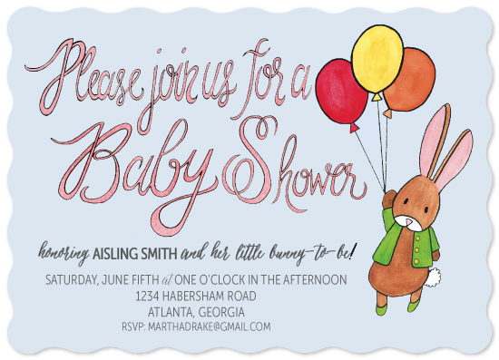 baby shower invitations - Balloon Bunny by Ma Chérie Paperie
