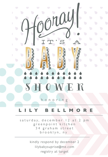 baby shower invitations - hooray by Nina Johnson