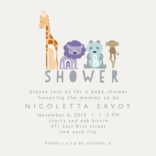baby shower invitations - animal pals by Nina Johnson