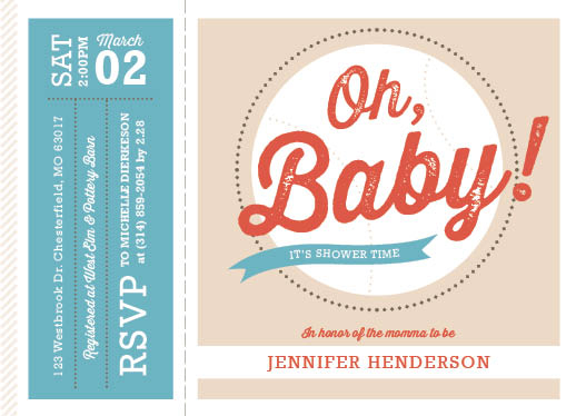 baby shower invitations - Oh Baby Baseball Ticket by Julie Cronin