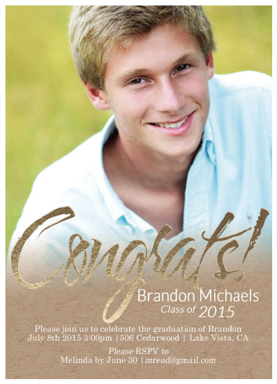 graduation announcements - Gold Foil Pressed Kraft Graduation by 365 Designs