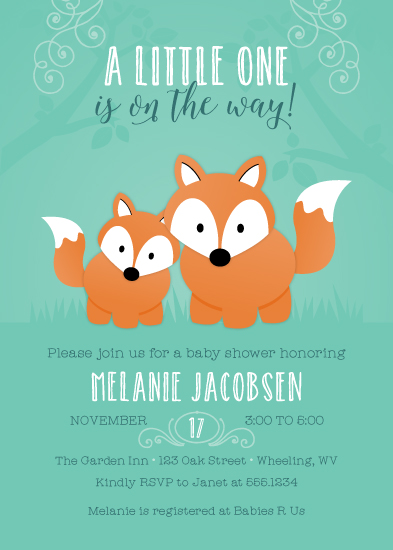 baby shower invitations - Friendly Fox by Little Bees Graphics